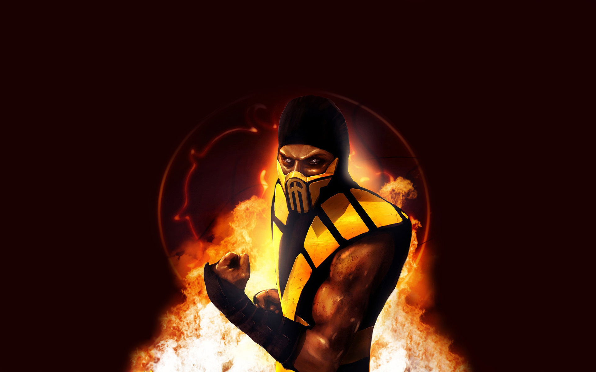 Mortal Kombat wallpaper Scorpion on fire