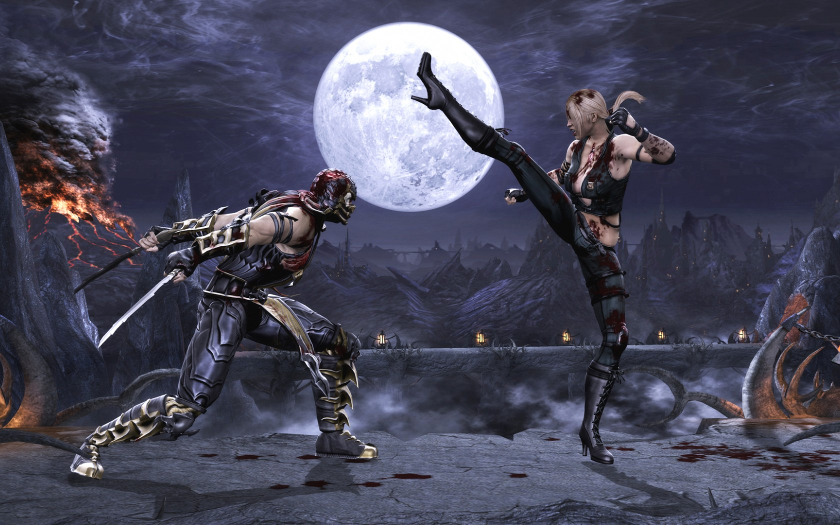 Mortal Kombat wallpaper Scorpion and Sonya Blade