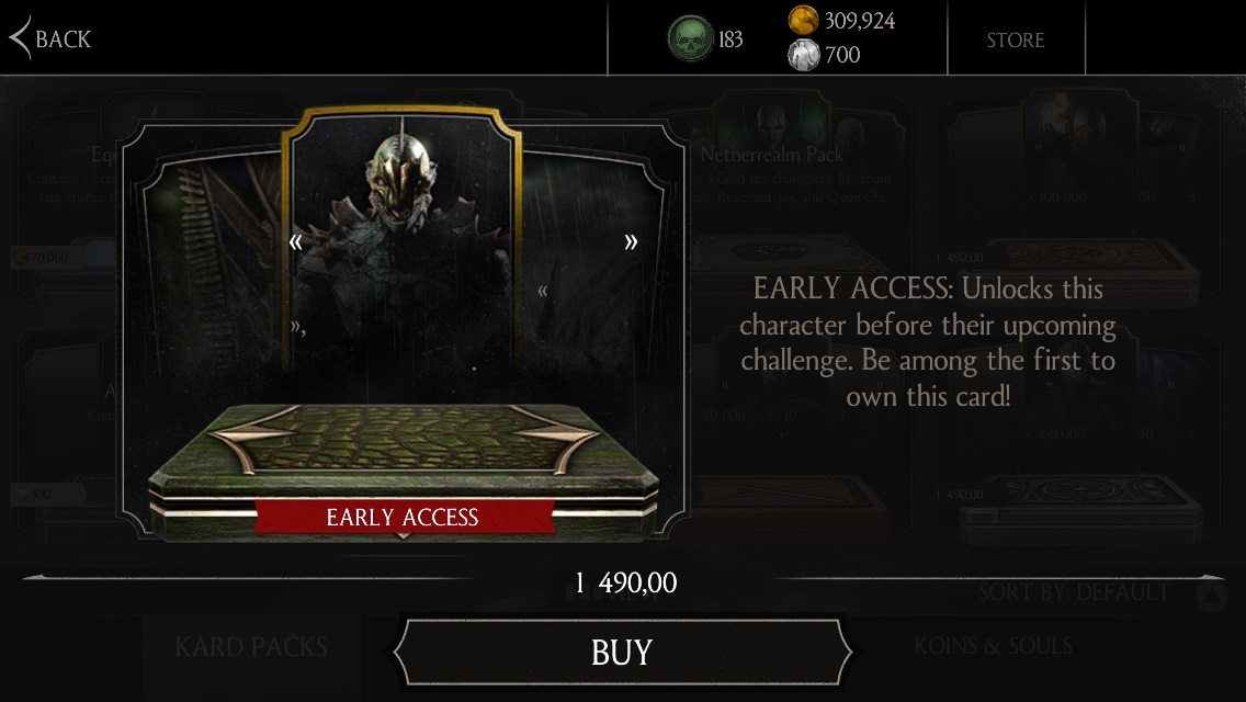 Kraken Reptile early access Mortal Kombat X Mobile
