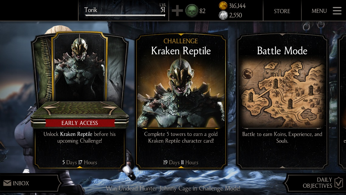 Kraken Reptile Challenge Available Mortal Kombat X Mobile