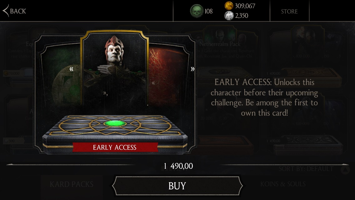 Bone Shaper Shinnok early acces available MKX mobile