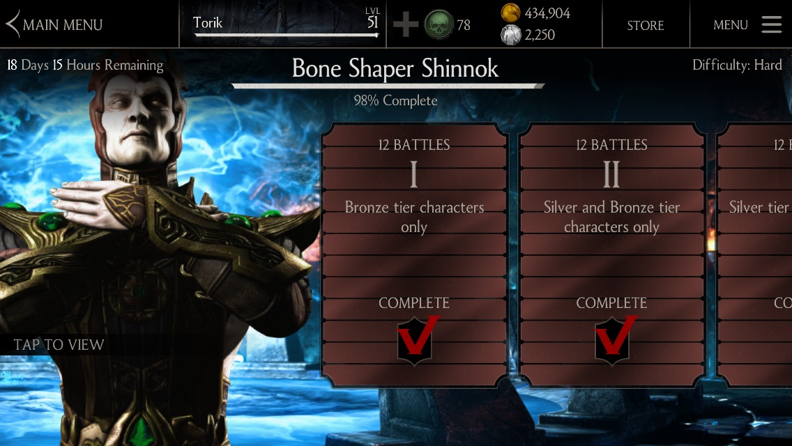 Bone Shaper Shinnok challenge available MKX mobile