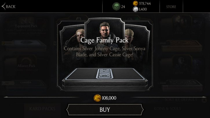 Cage Family Pack available Mortal Kombat X mobile