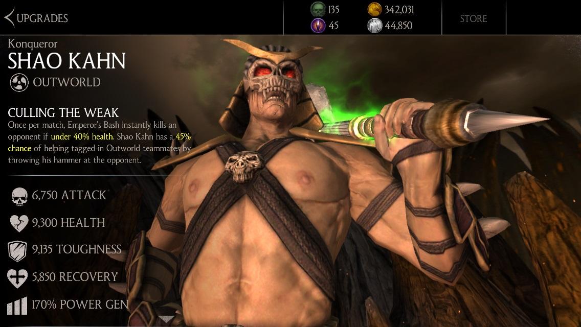 Konqueror Shao Kahn Mortal Kombat X Mobile 187 Mortal Kombat